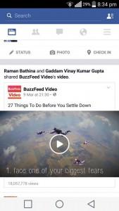 Klik settings pada aplikasi Facebook Android