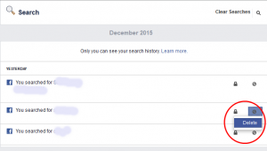 Cara menghapus search history facebook