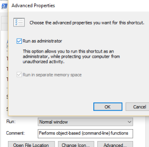 Taskbar Shortcut Properties