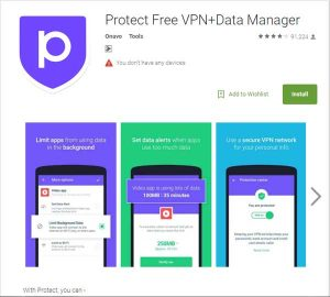 Aplikasi Protect Free VPN+ Data Manager