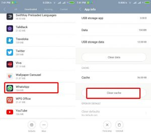 clear cache aplikasi whatsapp