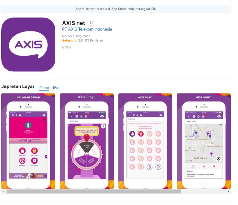 axis net, ios, appstore