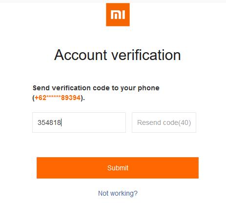 Masukkan kode Verifikasi Nomor HP Reset Akun Mi