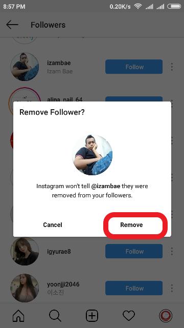 Cara hapus followers Instagram