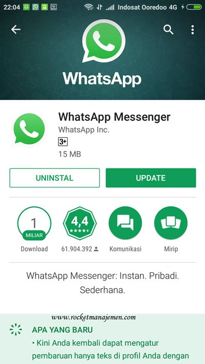 Update WhatsApp melakui play store